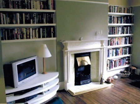 Nyc custom built in fireplace bookcases bookshelves wall for Bookshelves next to fireplace
